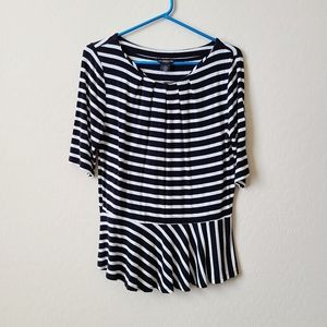 Liz Claiborne Career Black & White Stripe Peplum M